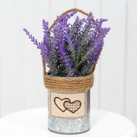 Lavender Flowers in Rustic Bucket