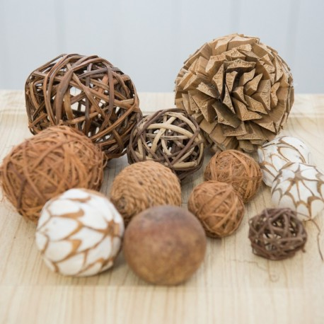 Rustic Decorative Wicker Rattan Ornamental Balls (set of 12)
