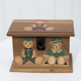 Classic Vintage Teddy Bear Wooden Box