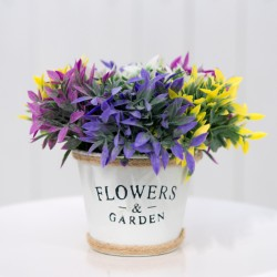 Rustic Flower Pot with Colourful Flowers