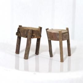 Rustic Miniature Wooden Stools