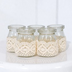 Mini Rustic Burlap Lace Glass Jars
