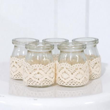 Mini Rustic Burlap Lace Glass Jars