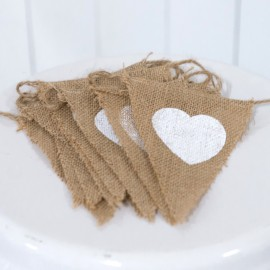 Rustic Burlap Bunting With Hearts