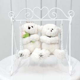 Wedding Couple Bears On Mini White Swing