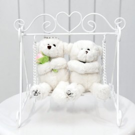 Wedding Couple Bears On Mini White Swing