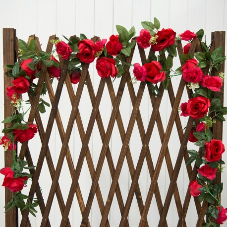 Artificial Red Rose Vines With Fencing