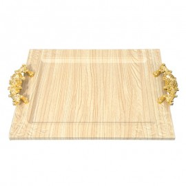 Wooden Tray with Golden Handles