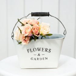 Rustic White Metal Floral Container