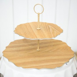2-tier Wooden Decorative Cake Stand