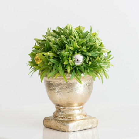 Small Artificial Topiary Ball Plant in Gold Vase