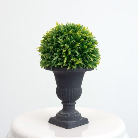 Medium Decorative Topiary Ball Plant in Black Vase
