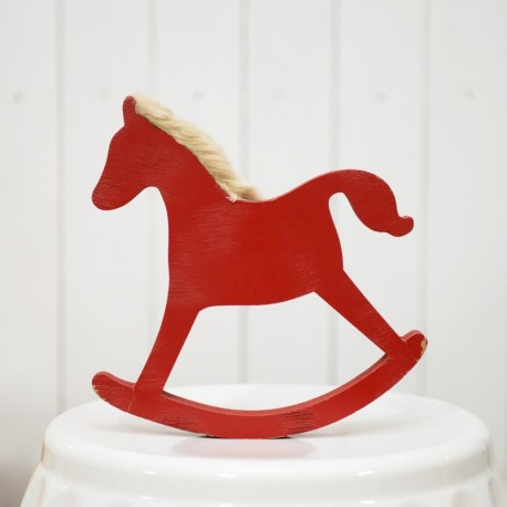 Red Wooden Rocking Toy Horse
