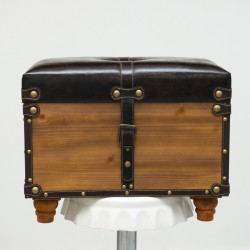 Vintage Wooden Treasure Chest With Leather Cover