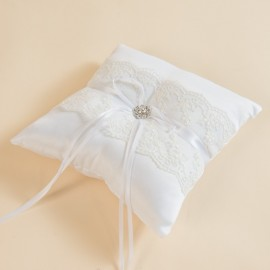 White Ring Pillow with Lace for Wedding Rings