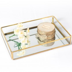 Rent: Nordic Gold Glass Tray (Rect Small)