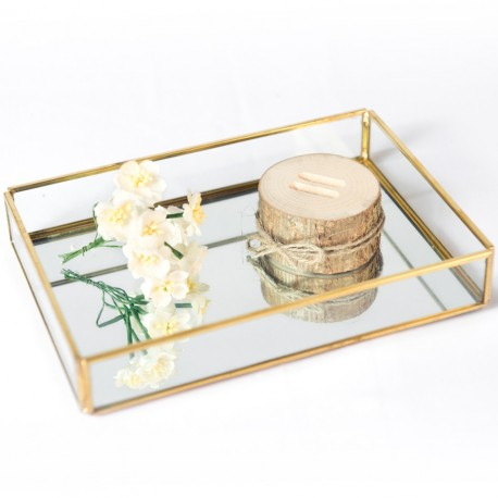 Nordic Gold Glass Tray (Rect Small)