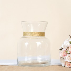 Short Round Glass Vase with gold