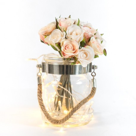 Rustic Glass Jar with Rope Handle