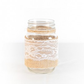 Wedding Burlap Lace Jar