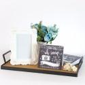 Rent: Wood Tray w/ Black Iron Handles