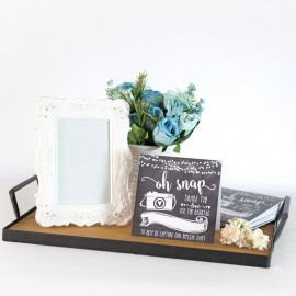 Rent: Wood Tray w/ Black Iron Handles