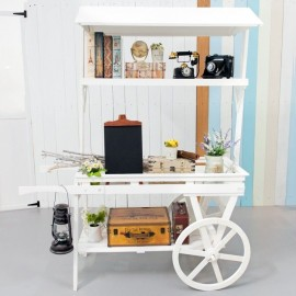 Large White Wooden Push Cart