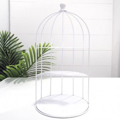 White Bird Cage Display Stand