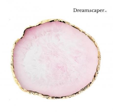 Gold-rim Marble Dish (Pink)