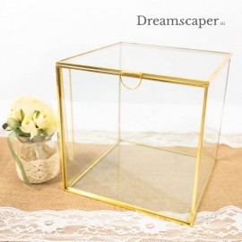 Gold-rim Square Glass Box Decor