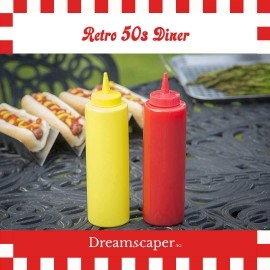 Retro Red Yellow Sauce Bottle