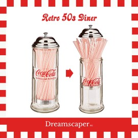 Retro Coca Cola Glass Straw Dispenser