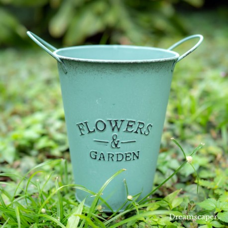 Vintage Flower Metal Bucket