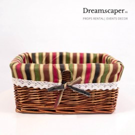 Brown rattan basket Xmas rental decor