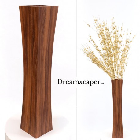 Simple tall slim brown floor vase rental singapore