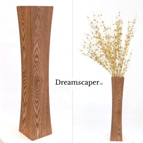 Light brown tall wooden floor vase rental singapore