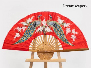 Red folding fan wedding props Singapore rent