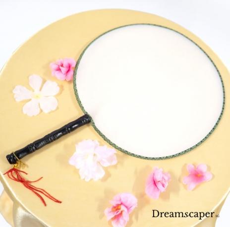 Silk chinese circular fan prop rental