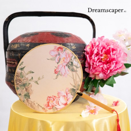 Classic chinese circular hand fan pink colour rent