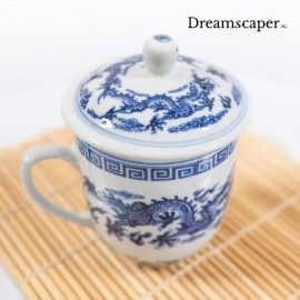 1950s vintage china cup with lid dragon pattern