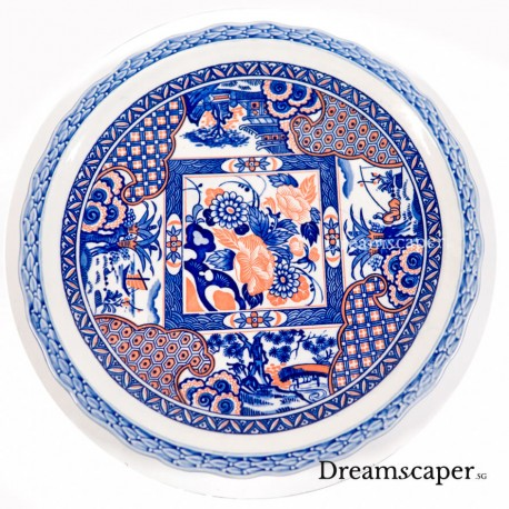 Ancient treasure retro blue white chinese plate antique rental