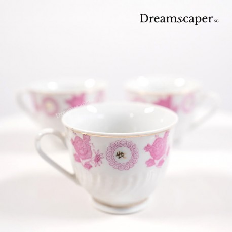 classic chinese porcelain teacups pink rental