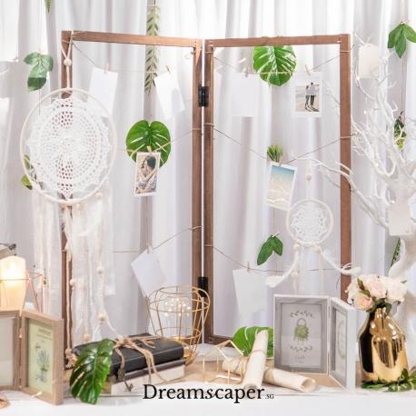 Brown Window Frame Photo Display