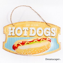 Bright yellow hotdog metal sign old western vintage decor