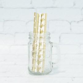 Party Straws: White Gold