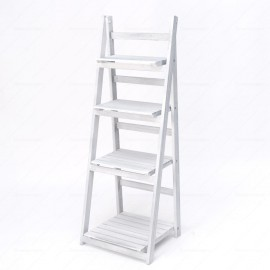 Wooden Ladder Folding Shelf (White)