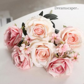 pink white silk roses for weddings and proposals