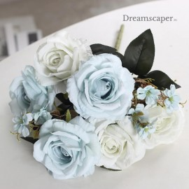 pale blue faux roses flower wedding rom decor