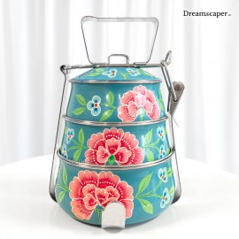 3 tier dark blue peranakan tingkat carrier for rent in singapore