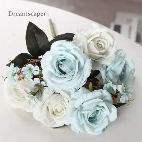 Pale Blue Faux Roses Wedding Flower Decor